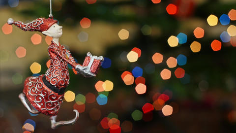 Christmas gnome toy shakes at bokeh. Title area Stock Video Footage