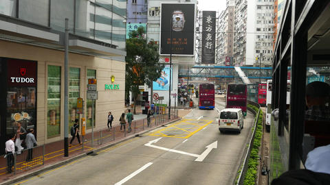 Move along Hennesy road, POV from double decker tram,... Stock Video Footage