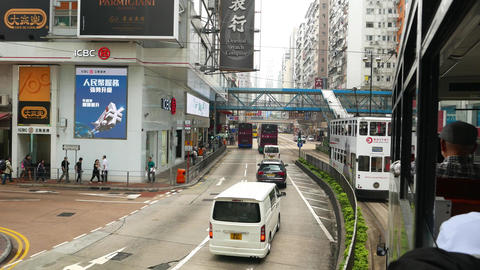 Move along Hennesy road, POV from double decker tram, daytime Footage