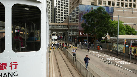 Double decker tram rush towards and pass by opposite view... Stock Video Footage