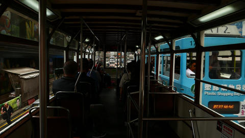 POV camera within second floor of double decker tram,... Stock Video Footage