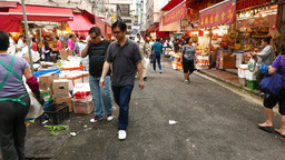 POV walk to Bowrington Road Wet Market colourful red... Stock Video Footage