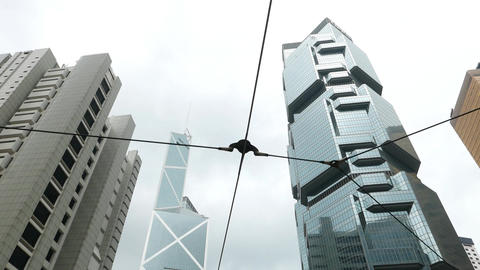 High angle shot Bank Of China Skyscraper and Lippo Centre... Stock Video Footage