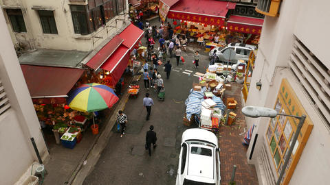 Wan Chai road intersection with Bowrington Road Market,... Stock Video Footage