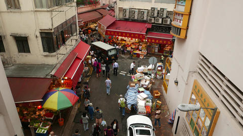 Street Wet Market Red Tents, Fruit, Raw Meat, Fresh Seafood Stalls stock footage
