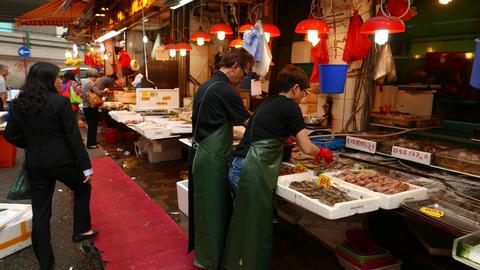 Fresh wet seafood stalls at Bowrington Road Market,... Stock Video Footage