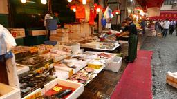 Fresh wet seafood stalls at Bowrington Road Market, parallax shot Footage