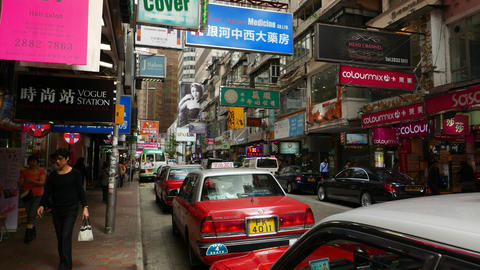 Old house many signboards, urban shopping area around Causeway Bay Footage