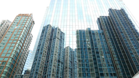 Low angle curtain wall reflection modern apartment... Stock Video Footage