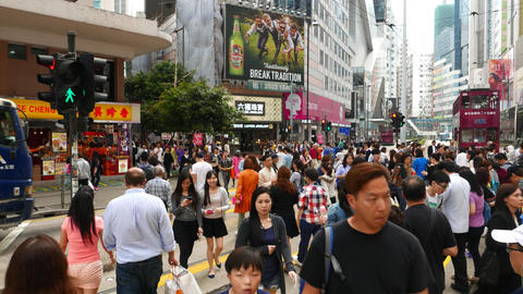 People Struggle Through Crosswalk, POV Camera Walk In Crowd, Cross Road stock footage