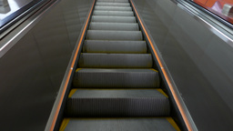 POV close view steps of escalator, travelling upwards Stock Video Footage