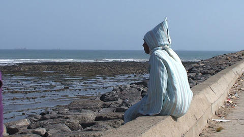 Islamic woman at beach Stock Video Footage