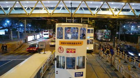Double decker tram traffic at night city, POV view from... Stock Video Footage