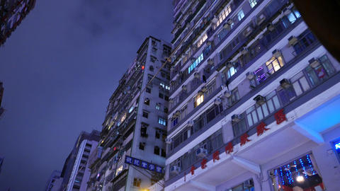 Night old apartment house facade, Hennessy road, twilight... Stock Video Footage