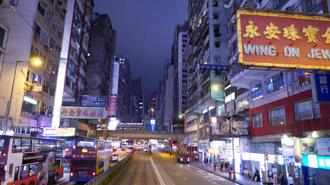 Night city street perspective, chinese signboards, bright... Stock Video Footage