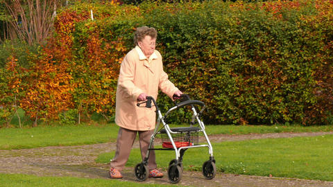 pensioner wheel walker in colorful autumn park side close... Stock Video Footage
