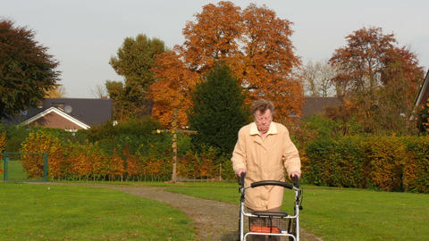pensioner wheel walker in colorful autumn park walk... Stock Video Footage