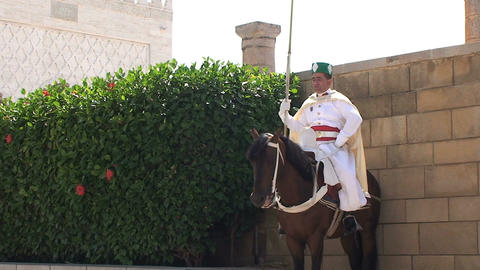 Guard on horse at Hassan Tower Stock Video Footage