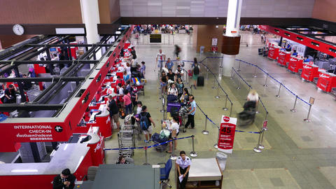 Airport check-in counters passengers mess, queue bustle,... Stock Video Footage