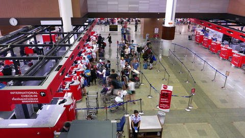 Airport check-in counters passengers mess, queue bustle, timelapse Footage