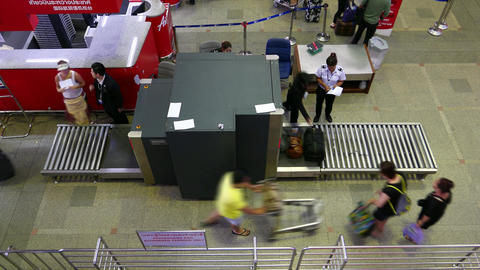 X-Ray security scanner at airport, check passenger... Stock Video Footage
