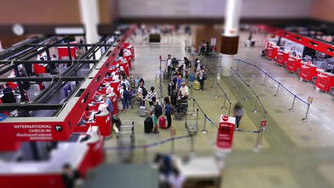 Flight register desks, airport concourse time-lapse shot Stock Video Footage