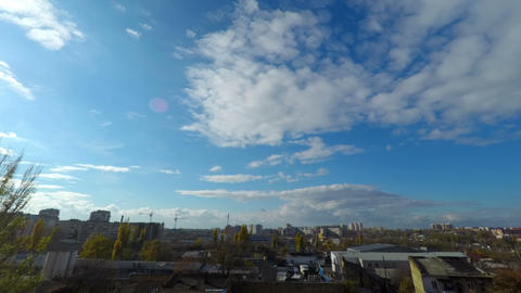 Clouds Moving Over the City Stock Video Footage