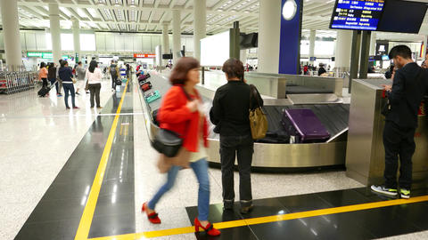 Luggage Claim Hall Carousel System, Bags Move On Transporter stock footage