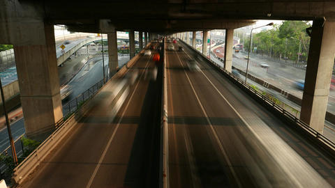 Highway Under Viaduct Rapid Traffic, View From Above, Time Lapse Shot stock footage