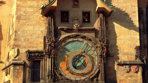 Ancient Astronomical Clock with Moving Figures Footage