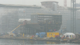 Section Of The Ship During Construction At The Gdansk Shipyard. Foggy Day stock footage
