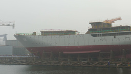 Shipyard. Ship is waiting for a ceremonial ship launching in a foggy day Footage