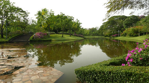 Beautiful Queen Sirikit Park canal and island, ambient noises, birds sing Footage