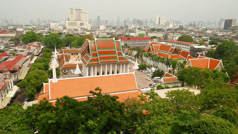 Camera look out from window, aerial view on King's palace Wat Saket Footage