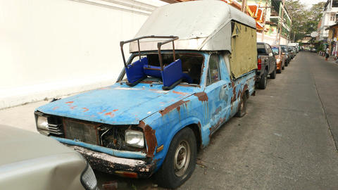 Abandoned rusty dilapidated pickup car without windscreen Footage