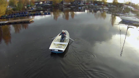 Flying Over The Rowing Boat stock footage