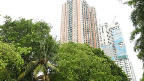 Tilt Up From Canal View To Villa Asoke Condo Tower Facade, Bangkok Real Estate stock footage