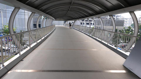Modern Covered Footbridge, Dolly Shot Along The Skyway Passage stock footage