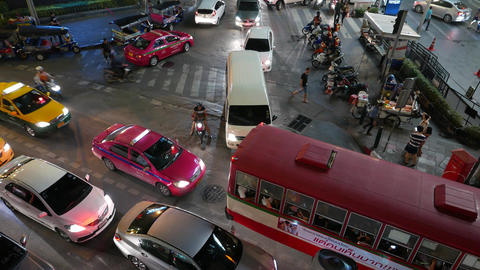 Traffic jam on night street, high angle close view, bus block driveway Footage