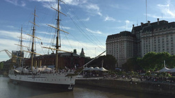 19th Century Frigate President Sarmiento On Madero Harbor stock footage