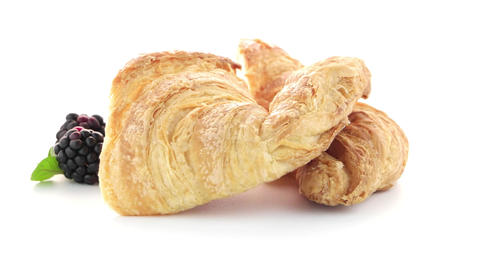 Croissant And Blackberries stock footage