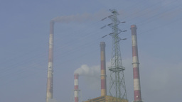 Heavy smog in the air and smoking chimneys of a coal power plant Live Action