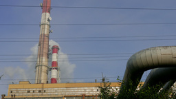 Smoking Chimneys Of A Coal Power Plant stock footage