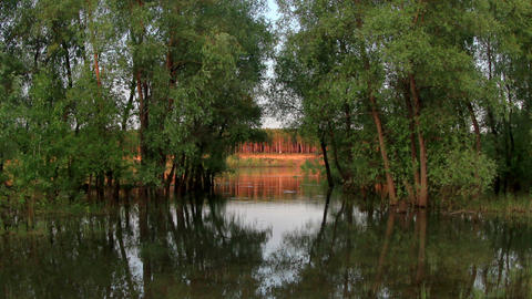 Sunset, Spring Flood In The River Irtysh. Krasny Yar, Lubinsky District, Omsk Re stock footage