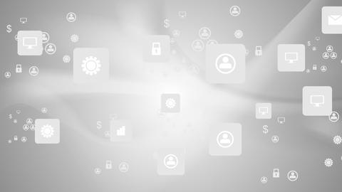 Social communication icons on grey wavy animated background Animation