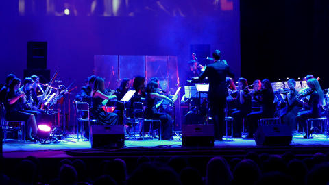 Symphony Orchestra Performance In The Concert Hall stock footage