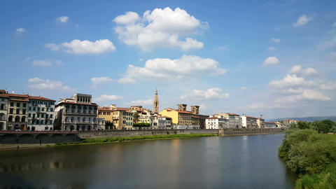 Skyline of Florence from river side Footage