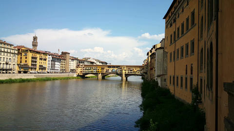 Skyline of Florence from river side, Ponte Vecchio Footage