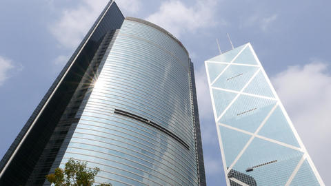 ICBC Tower And Bank Of China Iconic Skyscraper Against Blue Sky stock footage