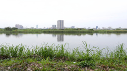 Tamsui river calm view from east side park Footage